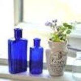 アンティーク ガラスボトル ブルー 2本セット