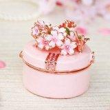 <初桜 ピンク 小さな折鶴に願いを込めて>  宝石箱 ジュエリーボックス