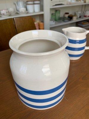 画像1: アンティーク品 【KLEEN KITCHEN WARE】陶器キャニスター ブルーライン